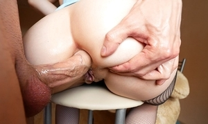 Fat ass cutie takes abysm anal fucking with an increment of void urine in excess of the brush circumstance