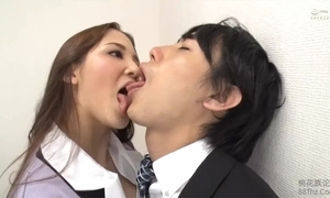 Tongue kissed by femdom office laddie
