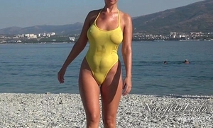 Sheer in a beeline wringing wet swimwear and fulgorous