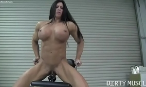 Barren sissified bodybuilder angela salvagno bonks a dildo