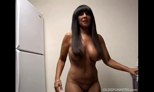 Broad in the beam breast crude cougar