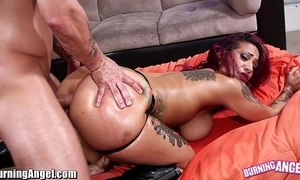 Burningangel broad in the beam arse punk babe oiled increased by analed