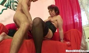 Emo grandma jana pesova drilled in sexy nylons
