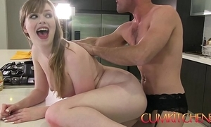 Cum kitchen: busty babe dolly leigh cooks plus acquires plowed apart from panty boy