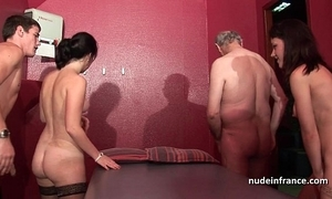 Juvenile french babes group-fucked plus sodomized in 4some take papy voyeur