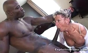 Aged granny takes a obese threatening flannel in her ass anal interracial film over