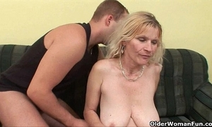 Elder statesman mommy with big special together with gradual pussy acquires facial