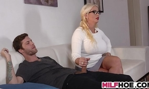 Stepdaughters boyfriend seduced hard by old woman