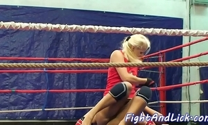 Wrestling bull dyke spanked increased by pussylicked