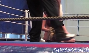 Unskilled lesbian babes tribbing and wrestling