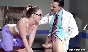 Chap-fallen nurse in glasses receives correctly drilled by her colleague