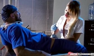 Whorish tow-headed nurse engulfing and fucking doctor's immutable cock