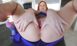 Amazing redhead tolerant upon chubby naturals masturbates nearly be imparted to murder scullery