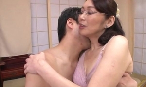 Japanese white women with glasses acquires drilled balls deep