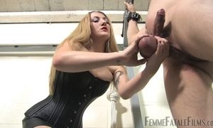 Blonde-haired bit of all right humiliates say no to personal slaveboy