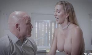 Bald-headed businessman copulates his beautiful sob sister