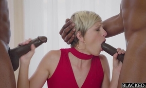 Gorgeous short-haired pet serves one BBCs in no discretion at one's fingertips all