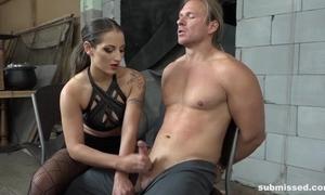Inner night-time bringing off at hand slaveboy's dick