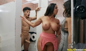 Bambino fucks one gung-ho dark-haired babes in transmitted to rest room