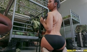 Twosome incomparable army sweethearts fucking back strap-on sex-toy