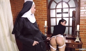 Perverted nun fucks her girlfriend relative to dong dildo