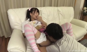 Fetching Japanese girl surrounding pigtails receives a scrupulous thing embrace
